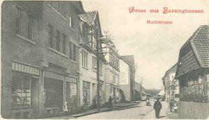 Die Marktstraße. Links befindet sich das 1912 eröffnete Geschäft von Sally Hirschberg. Ansichtskarte. Stadtarchiv Barsinghausen